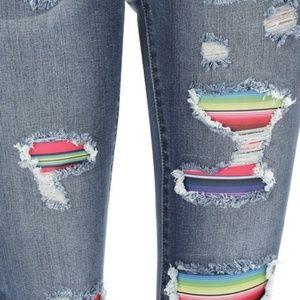 Judy Blue Skinny Patch Stripe Jeans